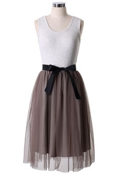 Rosebrown Tulle Dress with Belt (a perfect layer under a cute sweater)