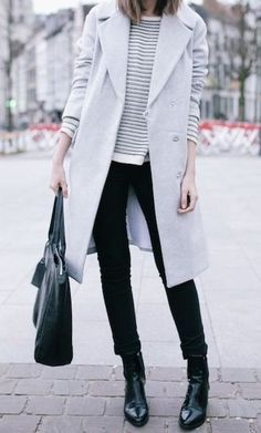 Winter neutrals - grey coat, sweater and black jeans and boots