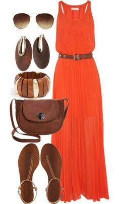 I already have a mini maxi orange dress to create this outfit with! I already have a mini maxi orange dress to create this outfit with! Polyvore Outfits, Polyvore Dress, Looks Style, Style Me, Summer Outfits, Casual Outfits, Summer Maxi Dress Outfit, Orange Dress Summer, Beach Outfits