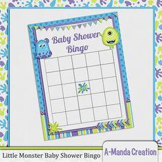 Monsters Inc Baby Shower Bingo