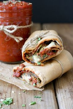 Vegan pizza burrito and easy pizza sauce. This recipe uses a small leftover amount of sauce from this recipe 		http://www.veggiesdontbite.com/creamy-vegan-orzo-risotto-mushrooms-peas/