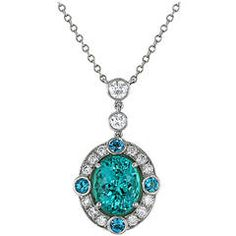 Paraiba Color Tourmaline Diamond Gold Platinum Pendant Necklace | From a unique collection of vintage drop necklaces at https://www.1stdibs.com/jewelry/necklaces/drop-necklaces/