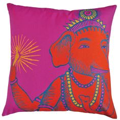 Evoke the exotic air of Morocco with the chic Bazaar Pillow. Bold fuchsia, gold, and orange pop across this plush design, bringing decadent color to your bed, sofa, or favorite chair.