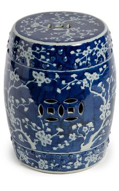 Blue and White Chinese Porcelain Handmade Garden Stool - Cherry Blossom Chinoiserie & Motif Ceramic Stool, Ceramic Garden Stools, Ceramic Table, Ceramic Decor, Porcelain Ceramics, White Ceramics, Porcelain Sink, Cold Porcelain, Chandeliers