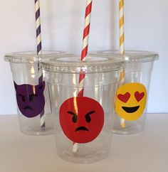 Emoji Themed Party Cups by ADoseOfWhimsy on Etsy https://www.etsy.com/listing/459638754/emoji-themed-party-cups
