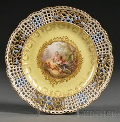 Meissen Plate with lace work round the outer part- beautiful!