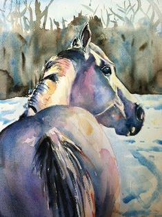 Maria's Watercolor: daily paint works challenge, white on white - white horse in the snow #watercolorarts