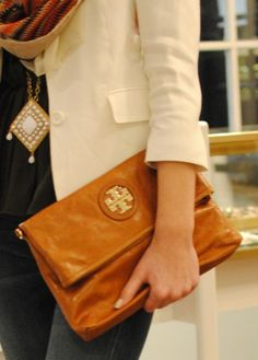 I want this entire outfit...blazer, scarf, necklace, Tory Burch clutch!