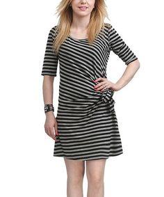 Another great find on #zulily! Gray Stripe Gathered Scoop Neck Dress #zulilyfinds #stripedy