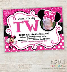 Items Similar To Chalkboard Minnie Mouse Invitation Birthday DIY Printable Turning TWO On Etsy