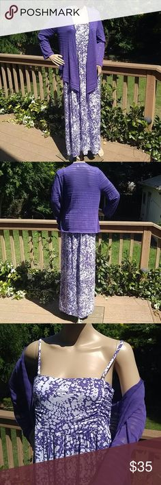 Chico's beautiful long purple dress w sheer jacket Chico's Zenergy dress with matching cover up. Excellent condition, only worn twice. Dress is purple with white spots. Dress has spaghetti  straps that are adjustable. Dress size is Chico's size 2. Cover up jacket is sheer and Chico's size 1 (jacket is stretchy so it can easily fit a size 2).   Dress and jacket not sold separately.   Comes from a smoke-free home. Chico's Dresses