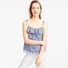 Tie-shoulder ruffle top with eyelet trim