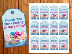 Shimmer And Shine Thank you tags Thank you cards Shimmer and