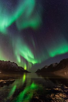 Northern lights over Ersfjord in Northern Norway.