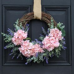 Spring Front Door Wreaths, Diy Spring Wreath, Wedding Door Wreaths, Spring Crafts, Christmas Door Wreaths, Winter Wreaths, Spring Projects, Prim Christmas, Holiday Wreaths