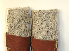 handmade crochet knit socks  boot cuffs leg warmers soft warm lambs wool chunky yarn. $25.90, via Etsy.