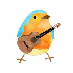 music bird Art Print, by Elvia Montemayor.