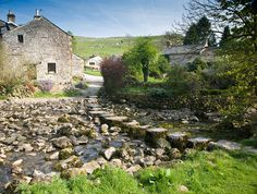 Stepping stones over Stainforth Beck in the Yorkshire Dales.