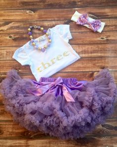 A personal favorite from my Etsy shop https://www.etsy.com/listing/280069762/purple-three-birthday-outfit-girl-third