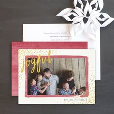 """Watercolor sparkle holiday photo cards by Elli featuring a modern design with watercolor frame, sparkles, and the word """"joyful"""" spelled out in a contemporary watercolor script. Christmas Photo Cards, Christmas Wishes, Wedding Stationery, Wedding Invitations, Cool Patterns, Paper Goods, Bold Colors, Save The Date, Watercolor"""
