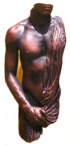 Adonis; sexy, figurative sculpture or statue can be made free standing or wall hung, detailing texture of the fabric, veins on the hand, detailed lips, strong shoulders, interior artwork for house, office, bedroom,  garden but in another medium, life size handpainted