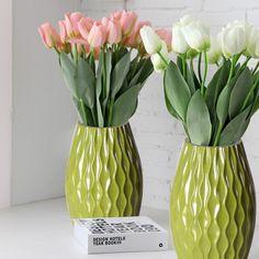 Adeco Decorative 12-inch Green Vertical Wave Wood Vase