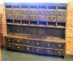 Antique, country apothecary cabinet, green paint                     ****