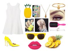 """""""The Pineapples """" by ciara0509 ❤ liked on Polyvore featuring Charlotte Olympia, Sonix, Mirabelle, Lee Renee, Denman, T3, Gianvito Rossi, Moschino, Lime Crime and pineapple"""