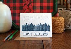 Happy Holidays Single Letterpress Card by TabletopMade on Etsy, $5.00