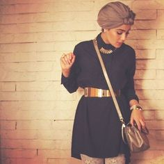 elegant black blouse with golden belt- Stylish turban looks by Asia Akef http://www.justtrendygirls.com/stylish-turban-looks-by-asia-akef/