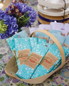 Seed Packet Party Favors  The dinner includes seed packet party favors for the guests.