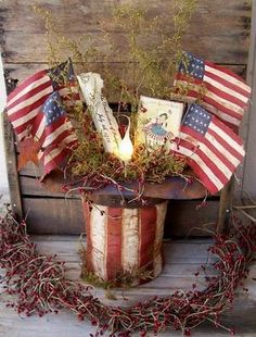 "Primitive Americana USA Uncle Sam Hat Welcome Lamp ""Independence Day"""