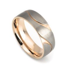 Titanium wedding ring rose gold plated for man