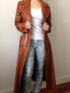 vintage SPY vs SPY caramel brown long leather by clotheswhorse