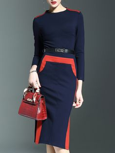 Vestido color combinado bolsillos con abertura -marino-Spanish SheIn(Sheinside)