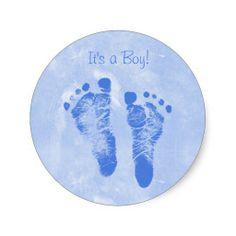Cute Boy Baby Footprints New Baby Annoucements Round Sticker
