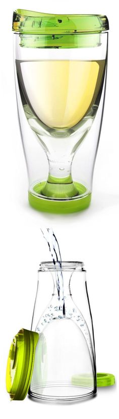 Wine Cup 2 Go - Fill the bottom with water, freeze it keep your wine ice cold without watering it down! Brilliant!
