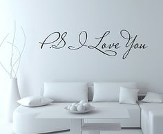 Free Shipping:Promotion!!! Hot selling PS I Love You Vinyl wall quotes stickers sayings home art decal Size:16cmx60cm/piece-in Wall Stickers...