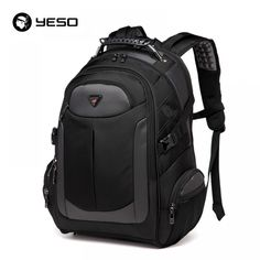 aee5d6bfa885 YESO Brand Laptop Backpack Men s Travel Bags 2017 Multifunction Rucksack Waterproof  Oxford Black School Backpacks For Teenagers