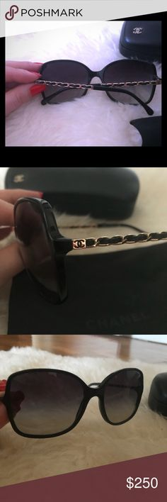 CHANEL sunglasses 🕶 Stunning, black CHANEL sunnies. Preloved. Classic. Still available at CHANEL boutiques and online. Measurements are listed in photos. CHANEL Accessories Sunglasses