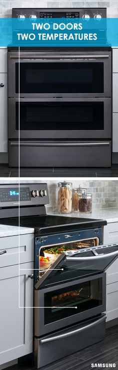 The Flex Duo Range is two convection ovens in one. Its unique hinge and smart divider enable you to bake multiple foods at different temperatures simultaneously. That means you can cook your side dishes while your entrée warms and serve everything at the right temperature at once.