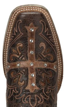 Cavender's by Old Gringo Women's Vintage Brown with Tan Cross Square Toe Western Boots | Cavender's