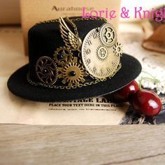 Steampunk Gear & Clock Chain Mini Top Hat Special Use: Costumes Pattern Type: Solid Department Name: Adult Gender: Women Material: Cotton, Polyester Top Type: Dome