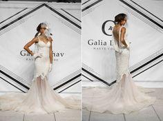 Galia Lahav Fall 2015 lace mermaid wedding dress with blush tulle skirt