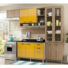 Cozinha Completa Sicília Argila Amarelo 5 Módulos Multimóveis