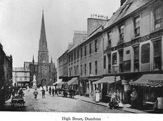 Around 100 Years ago a View of High Street Dumfries from the early Thanks to John Kerr Old Pictures, Old Photos, Gatehouse Of Fleet, Lineage, Great Britain, United Kingdom, Scotland, Street View, Black And White