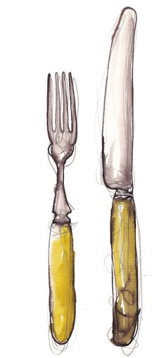 The cook ware that would be used in the Bahamas would be a knife and fork. It is a must for a fork to be used in the left hand and the knife in the right. The utensils used in the Bahamas are pretty much like ours which are a fork a spoon and a knife. Gesture Drawing, Food Drawing, Drawing Tips, Drawing Faces, Knife Drawing, Watercolor And Ink, Watercolor Illustration, Skull Illustration, Illustration Styles