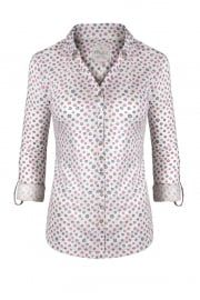 Pretty Top Tiles Jersey Shirt In Larkspur/carmine/off White