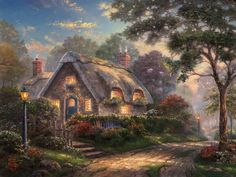 Thomas Kinkade loved to travel. Discovering new romantic cities, stunning mountain vistas, or luscious hillsides and gardens, he delighted in setting up his outdoor easel and capturing these discoveries on canvas. And from these plein air (open air) works often emerged later studio masterpieces.The English countryside was always one of Thom's favorite places. He loved the charming country lanes lined with quaint cottages that would glow from within with the warm lights of family and home…