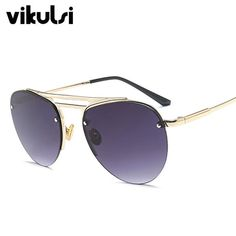 b20837693c5 New Classic Mens Rimless Aviator Sunglasses Women Brand Designer Vintage  Clear Glasses Fashion Sun shades For Men Sunglass UV400